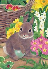 """Easter Bunny Egg Daffodil Primrose Flower Garden Flag 18"""" x 12"""""""