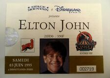 ELTON JOHN USED CONCERT TICKET / BILLET / PLACE VIP - 1995 DISNEYLAND PARIS