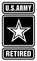US Army Retired Vinyl Decal, Bumper Sticker, V2, Military, Car, Windows, Outdoor