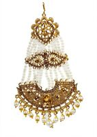 Indian Kundan Pearl Gold Head Hair Chain Forehead Jhoomar Passa Jewelry Tikka