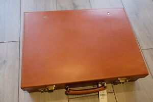 Peal & Co Tan Leather Attache Briefcase Made in England Swaine Adeney Brigg BN