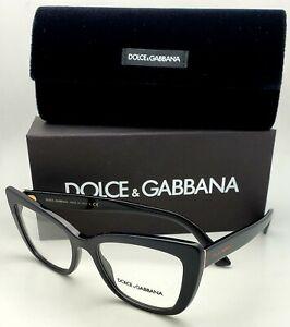 New DOLCE&GABBANA Rx-able Eyeglasses DG 3308 501 53-18 Black&Gold Cat Eye Frames