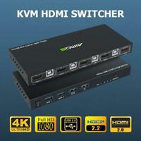 18Gbps 4K 4 Input 1 Output KVM Switch HDMI 2.0 Screen Switcher Mouse USB Sharer