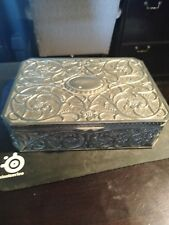 VTG Godinger Large Antiqued Silver Plated Jewelry Box Velvet Lined Floral Art