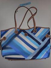 Antonio Melani Blue Painted Stripe Tote Shoulder Bag Handbag Purse New