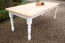 Tisch Esstisch Massivholz Landhaustisch Esszimmer  200 cm mod.03 weiss/natur Neu