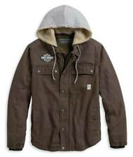 Harley Davidson Men's Zip-Off Hood Work Wear Jacket, Brown, 97413-20VM, Large