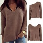 Women Long Sleeve Hollow Sweater Loose Casual Knitwear Jumper Coat Pullover