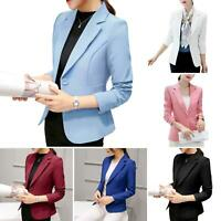 WOMEN ONE BUTTON LONG SLEEVE SLIM-FIT WORK BUSINESS SUIT COAT JACKET BLAZER TOPS