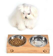 Double Bowls Raised Stand For Cat Pet Dog Stainless Steel Feeder Food Bowl
