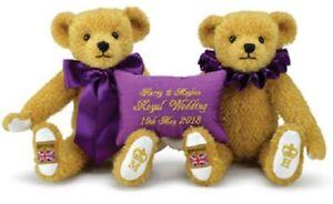 "SAVE! HARRY & MEGHAN Merrythought 11"" Royal Wedding Teddy Set 2018 LtdEd - NEW!"