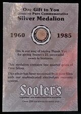 1960-1985 SOOTER'S STUDIO SILVER MEDALION - 25 Years Business - 1/4 gram Pure