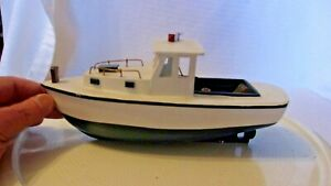 Wooden Hand-made Lobster Fishing Boat, White & Blue With Details