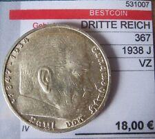 J367 5 Reichsmark Hindenburg m. H.   1938 J in VZ  531007