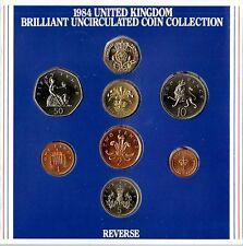 1984 UK Universel Coin Year Set BU 8-pièce de monnaie royale Pack avec dernier 1/2p.