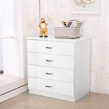White vintage four-tier chest of drawers bedside table dresser bedroom furniture