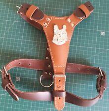 Medium Leather Dog Harness With French Bulldog Head Motif LIGHT CARAMEL& BROWN 2