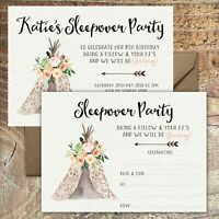 BIRTHDAY INVITATIONS Teepee Party Sleepover Personalised or Blank Any Age PK 10