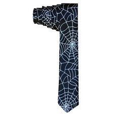 Mens Necktie Patterned Neckties Men Skinny Slim Neck Tie Halloween Spider Web