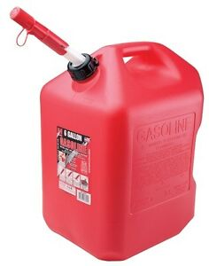 Midwest 6610 6 Gallon Red Plastic Gas Can Containers with Spill Proof Spout