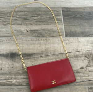 Authentic Vintage Red Chanel Calfskin Leather Long Fold Over Purse With Chain