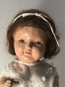 "1920's Antique 20"" Compo Mama Doll Tin Eyes Human Hair Wig Deep Cheek Dimples!"