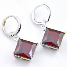 Square Mother's Day Jewelry Gift Red Fire Garnet Gems Silver Dangle Earrings
