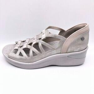 Bzees Womens Sasha Sandals Metallic Pink Wedge Heels Cut Out Slip Ons 10 W