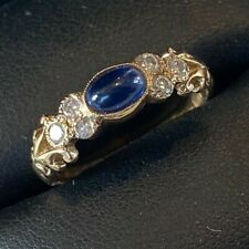 ANTIQUE 9CT GOLD GENUINE MINED DIAMOND SAPPHIRE RING BEAUTIFULY MOUNTED STUNNING