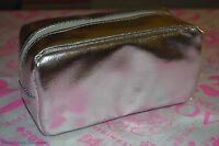 bareMinerals Silver METALLIC PVC Polyester Square Makeup Cosmetic Small Bag New