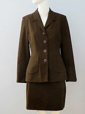 ELISABETH Brown Size 8 Fully Lined Blazer and Skirt Suit (Made in Europe)