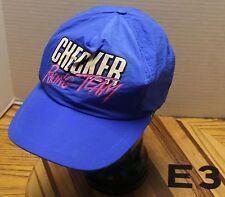 CHECKER RACING TEAM BLUE NYLON HAT SNAPBACK ADJUSTABLE VGC E3