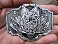 Vtg DEPUTY BADGE Belt Buckle 1985 Shawnee KS OK Sheriff S&S Pewter RARE VG++