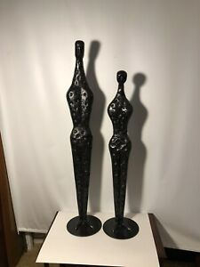 """Mid Century Modern Large 38""""& 34"""" Abstract Expressionist Metal Figure Sculptures"""