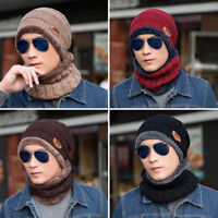 Men Boy Winter Knitted Scarf and Hat Set Warm Knitting Thicken Skullcaps