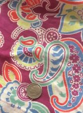 Vintage Fabric Paisley Cotton Colors Material Print Quilting Purple