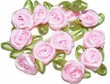 100 rose flower ribbon satin appliques trim lot pink