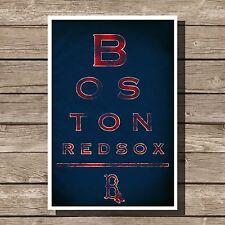 "Boston Red Sox Art Baseball MLB Eyechart Poster Man Cave Decor 12x16"""