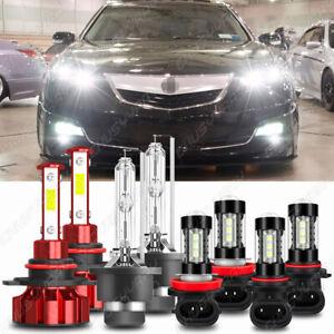 For Acura TL 2009-2014  -8PCS Front LED HID Headlights Hi/Lo DRL Fog Light Bulbs