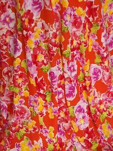 Rayon Challis Fabric By The Yard Orange Background Fuchsia Floral Flowers Dress