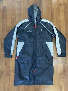 TYR Adult Medium Insulated Black/White Swimming PARKA Full Zip Long Jacket