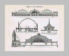 1895: Eisenbahn / Bahnhöfe: U.a. Halle, Köln, Berlin, Düsseldorf. 1 Falttafel