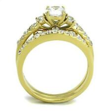 2 Ct Round cut Solitaire Engagement Ring Wedding Band Set Yellow Gold ov Sz 6