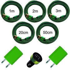 20cm 50cm 1m 2m 3m Micro USB Ladekabel 2x USB Netzteil KFZ Ladegerät Handy grün