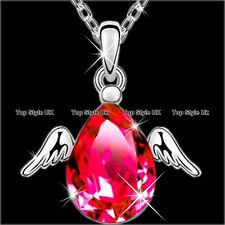 Angel Wings Necklace Ruby Pendant Silver Jewellery Christmas Gifts for Her J260