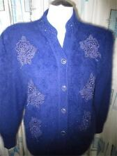 Vtg Sexy Furry Purple Angora Embellished Cardigan Sweater Pin Up, Rhinestones L