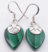 "925 Solid Silver 13 x 18 mm GREEN MALACHITE 14.0 TCW Drop Dangle Earrings 1.4"""