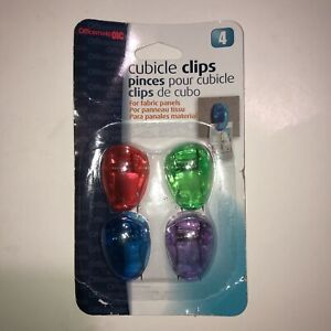 Officemate Standard Cubicle Clips, Assorted Translucent Colors, Pack of 4