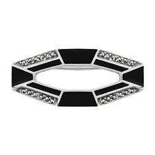 Gioielli Di Lusso Argento Sterling 3pt Smeraldo & Marcasite Art Deco Geco Spilla