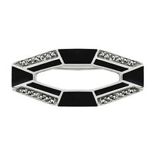 Argento Sterling 3pt Smeraldo & Marcasite Art Deco Geco Spilla Spille E Fermagli